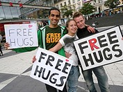 STOCKHOLM SWEDEN Group in Stockholm offering free hugs on Sergels Torg