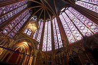 Stained glass windows of the upper chapel of Sainte Chapelle, Paris, France