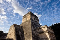 Temple of the Jaguar at the Ball Court or Juego de Pelota at the Maya site of Chichen Itza in the Yucatan Peninsula, Mexco