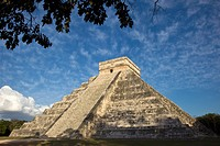 "The Kukulkan Pyramid or ""El Castillo"", one of the new seven wonders of the world, in Chichen Itza, Yucatan Peninsula, Mexco"