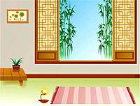 bamboo, indoors, room, scenery, landscape, lamp, background