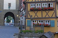 Rothenburg ob der Tauber, Ploenlein, Romantic Road, Romantische Strasse, Franconia, Bavaria, Germany, Europe.