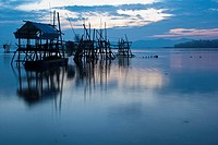 Sunrise on Buntal fishing village, Kuching, Sarawak, Malaysia