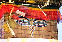 The eyes of Buddha on Svayambunath Temple called Monkey Temple, Kathmandu, Nepal