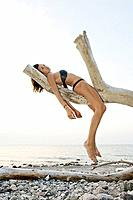 Young woman, 20 +, on a dead tree, beach, lifestyle, Niendorf on the Baltic Sea, Schleswig_Holstein, Germany, Europe