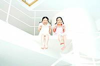 Girls sitting on stairs