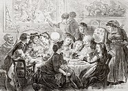 A 19th century family enjoying a get together and feast on the day of the Epiphany, January 6  From L'Univers Illustre published in Paris in 1868