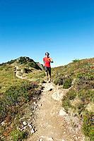 Austria, Kleinwalsertal, Mid adult man running on mountain trail