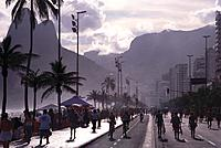 People on the seaside promenade at Ipanema Beach, Rio de Janeiro, Brazil, South America, America