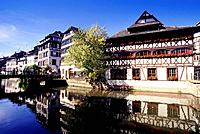 View over Ill river and Place Benjamin Zix, La Petite France, Strasbourg, Alsace, France, Europe