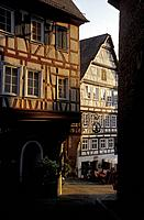 Half timbered houses at the old town in the evening light, Schwaebisch Hall, Baden_Wuerttemberg, Germany, Europe