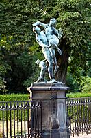 Statue on the bridge to Buckeburg Palace, Rape of Proserpine, Bueckeburg, Lower Saxony, northern Germany