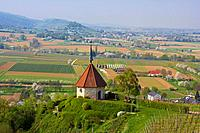View over Ehrenstetter Oelbergkapelle Chapel at Staufen castle, Markgraflerland, Black Forest, Baden_Wuerttemberg, Germany, Europe