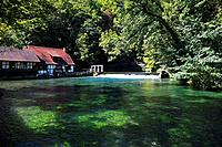 Mill at the Blautopf, near Blaubeuren, Swabian Alb, Baden_Wurttemberg, Germany