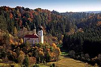 Pilgrimage church St. Sebastian, near Breitenbrunn, nature park Altmuehltal, Franconian Alb, Franconia, Bavaria, Germany