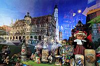 Window of a souvenir shop reflecting the town hall, Rothenburg ob der Tauber, Tauber valley, Romantic Road, Franconia, Bavaria, Germany