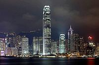 Hong Kong Skyline with Two International Finance Center at night, Hong Kong, China