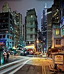 Soho Corner, Peel Street, Staunton Street at night, Hong Kong, China