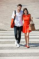 Couple on a crosswalk, Paris, Ile_de_France, France
