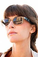 Close_up of a woman wearing sunglasses, Paris, Ile_de_France, France