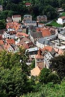 Vie of the Red Tower on the Market Place from above, Kulmbach, Upper Franconia, Franconia, Bavaria, Germany