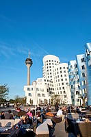 Modern buildings under blue sky, Neuer Zollhof, Frank O. Gehry, Media Harbour, Duesseldorf, Duesseldorf, North Rhine_Westphalia, Germany, Europe