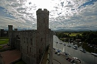 Caernarfon Castle and harbour, Caernarfon, Wales, UK