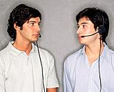 Two call centre workers looking at each other