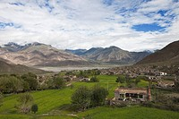 Village at the Lhasa River in the Transhimalaya Mountains near L, Tibet Autonomous Region, People´s Republic of China