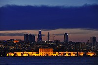The illuminated Dolmabace palace on the waterfront, Istanbul, Turkey, Europe