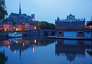 Evening at Port d´Amont, Penichette, Old city, Notre_Dame cathedral, Boathouse of Amiens´ rowing_club, Amiens, Dept. Somme, Picardie, France, Europe