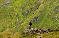Hiker on the Miners Track towards Mt. Snowdon, Snowdonia National Park, Wales, UK