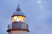 closeup of a lighthouse in Llanes, Spain