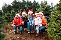 Family amongst christmas trees