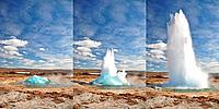 Famous Geyser eruption in steps, sunny day in Iceland