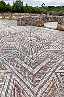 Mosaics in the House of the Swastika Villa in Conimbriga, the best preserved Roman city ruins in Portugal