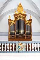 Pipe Organ in Misericordia church in the city of Santar&#233;m, Portugal  16th century late Renaissance Architecture