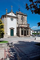 S&#227;o Joao do Souto Church left and the Coimbras Chapel right  Two medieval religious buildings in Braga city, Portugal