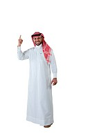 Arab man giving number 1 sign