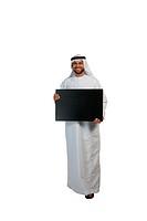 Arab man holding a placard