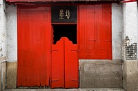 Red Door to a traditional Chinese shop house in Macau