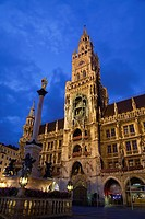 Marienplatz with New City Hall and Marian column at night, Munich, Germany