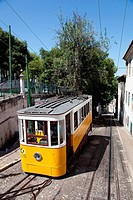 Elevador da Gloria, the well known funicular which connects the Restauradores Square to Bairro Alto in Lisbon, Portugal
