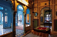 Beautilful vivid colours inside the magnificent City Palace of Udaipur, Rajasthan, India