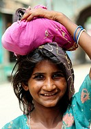 Portrait of a smiling girl  Mandawa, Shekawati region, Rajasthan, India