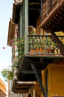 Colonial Balconies, Cartagena de Indias, Bolivar Department,, Colombia, South America