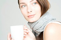 young woman with white cup