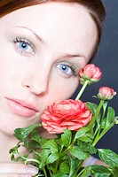 beauty woman with globe flower
