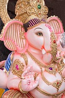 Idol of ganesh elephant headed god for sale in Ganeshotsav , Pune , Maharashtra , India
