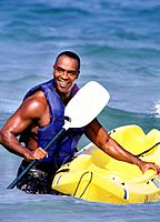 Smiling Man with Kayak